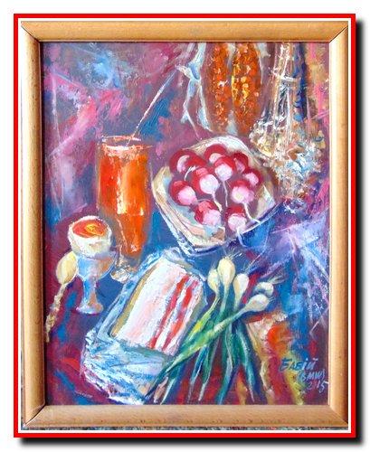 """""""Весняний натюрморт"""". Картон, олія. Розмір 40х30 см. 2015 рік. 125 $."""